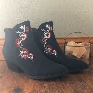 Blue Embroidered Booties